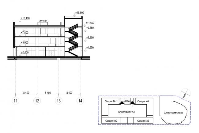 Многофункциональный комплекс с апартаментами и спортивной волейбольной ареной. Разрез 3-3 © Архитектурная мастерская «Группа АБВ»