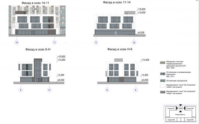 Многофункциональный комплекс с апартаментами и спортивной волейбольной ареной. Фасад в осях К-Н и Н-К (офис) © Архитектурная мастерская «Группа АБВ»