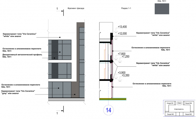 Multifunctional complex with apartments and a volleball arena. Fragment of the Facade. Layout of the materials. Sports complex © ABV Group