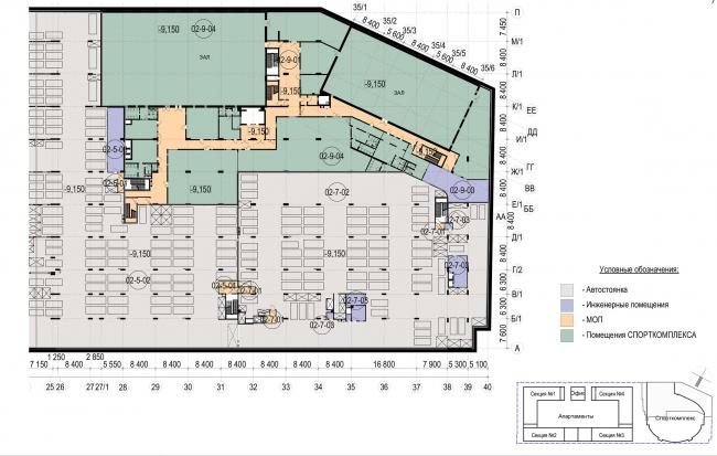 Многофункциональный комплекс с апартаментами и спортивной волейбольной ареной. План -2 уровня. Спорткомплекс © Архитектурная мастерская «Группа АБВ»