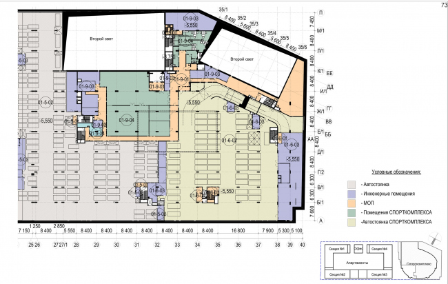 Multifunctional complex with apartments and a volleball arena. The plan of the -1st level. Sports complex © ABV Group