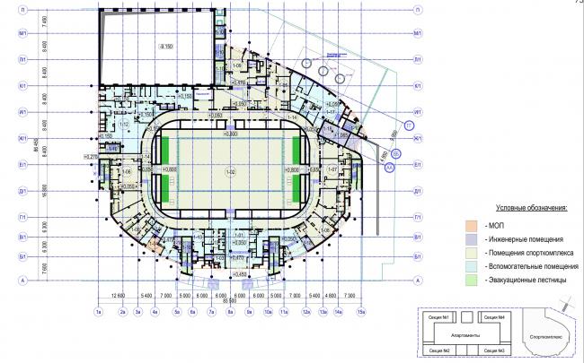 Многофункциональный комплекс с апартаментами и спортивной волейбольной ареной. План 1 этажа. Спорткомплекс © Архитектурная мастерская «Группа АБВ»