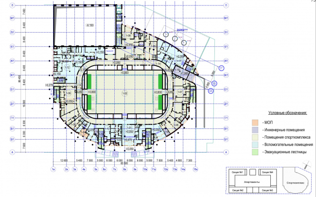 Multifunctional complex with apartments and a volleball arena. The plan of the 1st floor. Sports complex © ABV Group