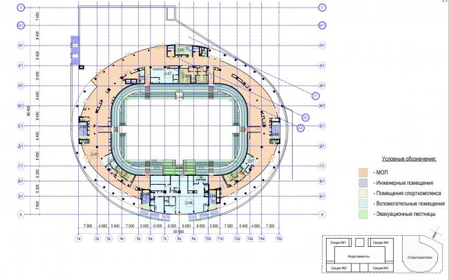Многофункциональный комплекс с апартаментами и спортивной волейбольной ареной. План 2 этажа. Спорткомплекс © Архитектурная мастерская «Группа АБВ»