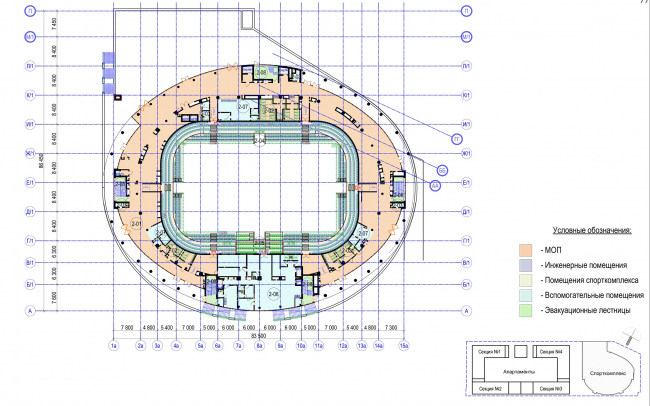 Multifunctional complex with apartments and a volleball arena. The plan of the 2nd floor. Sports complex © ABV Group