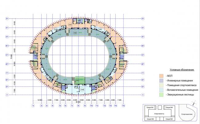 Многофункциональный комплекс с апартаментами и спортивной волейбольной ареной. План 3 этажа. Спорткомплекс © Архитектурная мастерская «Группа АБВ»