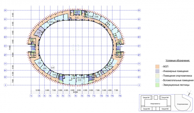 Multifunctional complex with apartments and a volleball arena. The plan of the 4th floor. Sports complex © ABV Group