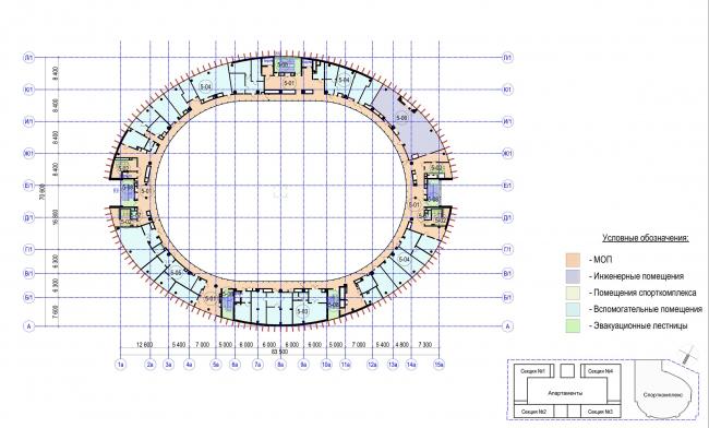Многофункциональный комплекс с апартаментами и спортивной волейбольной ареной. План 5 этажа. Спорткомплекс © Архитектурная мастерская «Группа АБВ»