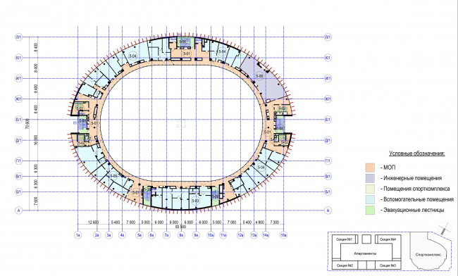 Multifunctional complex with apartments and a volleball arena. The plan of the 5th floor. Sports complex © ABV Group