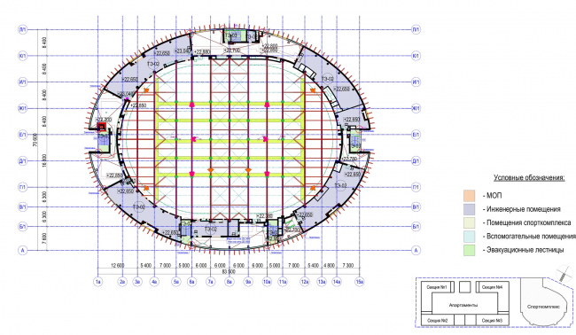 Многофункциональный комплекс с апартаментами и спортивной волейбольной ареной. План технического этажа. Спорткомплекс © Архитектурная мастерская «Группа АБВ»