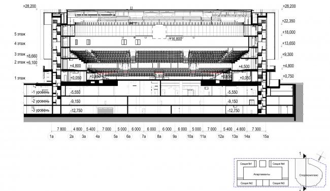Многофункциональный комплекс с апартаментами и спортивной волейбольной ареной.Разрез 1-1. Спорткомплекс © Архитектурная мастерская «Группа АБВ»
