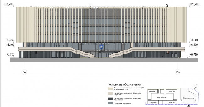 Multifunctional complex with apartments and a volleball arena. The facade in axes 1a-15a. Sports complex © ABV Group
