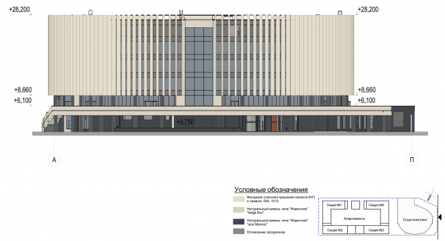 Multifunctional complex with apartments and a volleball arena. Facade in axes А-П. Sports complex © ABV Group