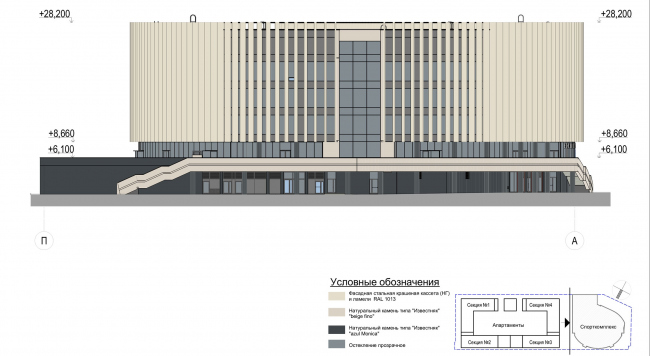 Multifunctional complex with apartments and a volleball arena. Facade in axes П-А. Sports complex © ABV Group