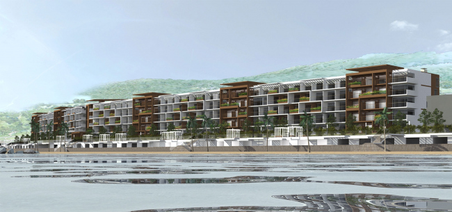 Проект апартамент-отеля в Геленджике. Перспектива. Вид на южный фасад © Гинзбург Архитектс