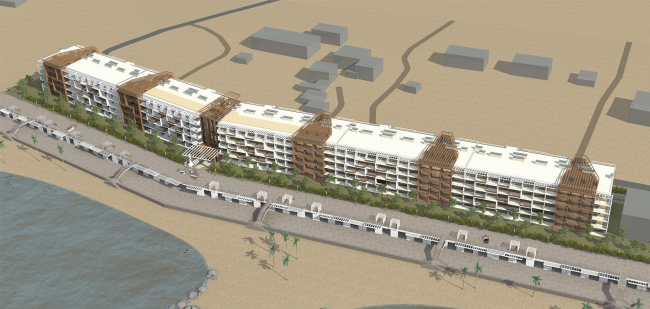 The project of an apratment hotel in Gelendzhik. Perspective view. Overview of the south facade © Ginsburg Architects