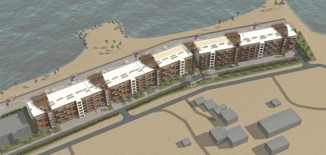 Проект апартамент-отеля в Геленджике. Перспектива. Общий вид северного фасада © Гинзбург Архитектс