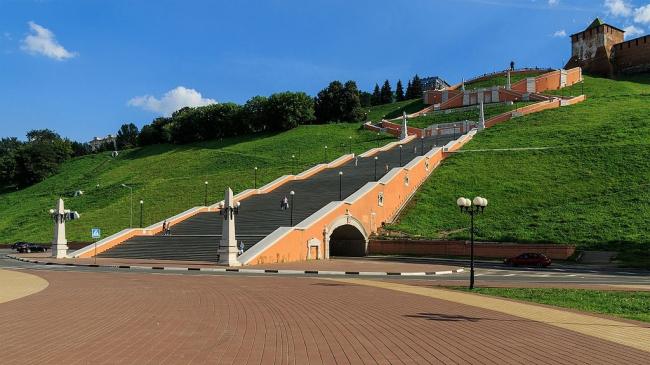 Чкаловская лестница. Фото: A.Savin via Wikimedia Commons. Лицензия FAL