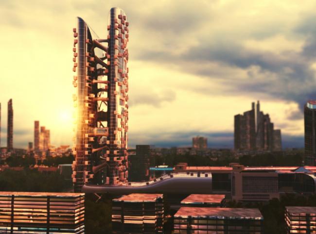 Проект гостичного комплекса «Юрий Долгорукий» для «Москва-Сити» © Zaha Hadid Architects. Визуализация предоставлена Музеем Москва-Сити