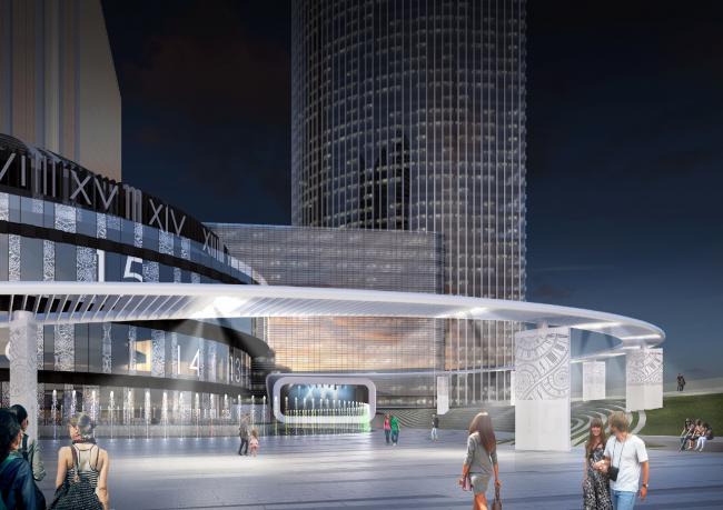 Вид на сцену на новой городской площади City Time Plaza в Москва-Сити © «Горпроект»
