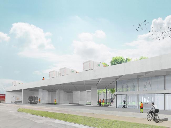 Адаптируемая инфраструктура для компании по сбору отходов в Брюсселе © TETRA architecten