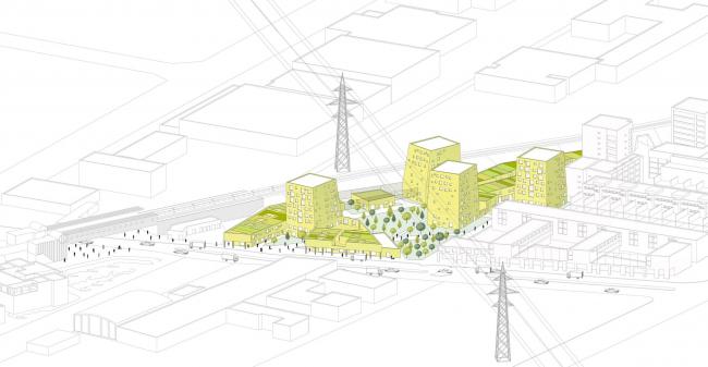 Жилой комплекс Zitronengelbe Häuser. Аксонометрическая проекция © PLAYstudio + YES studio