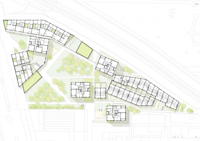 Жилой комплекс Zitronengelbe Häuser © PLAYstudio + YES studio