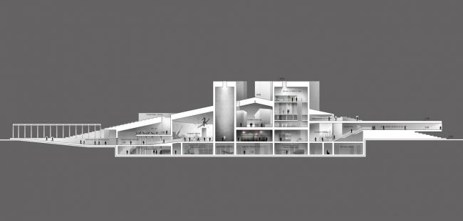 Музейно-выставочный комплекс «Оборона и блокада Ленинграда». Разрез 1 © Студия 44
