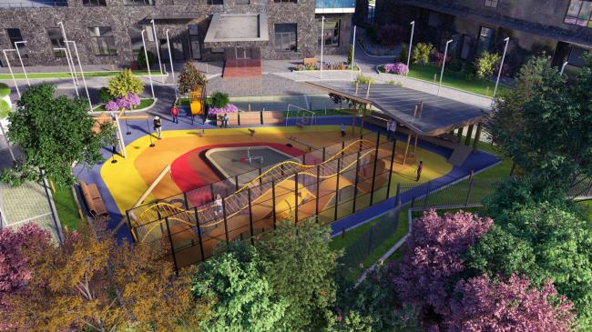 Дом премиум-класса «Дыхание». Детская площадка. Архитекторы ПланАР, иллюстрация предоставлена ФСК «Лидер»