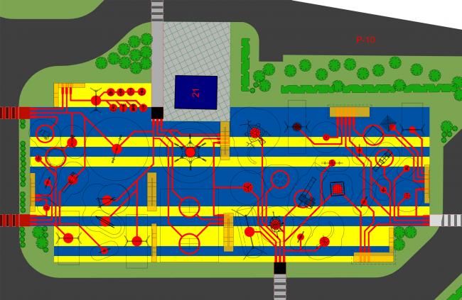 UP-квартал «Сколковский», концепция благоустройства, фрагмент с «игровыми маршрутами» © ПланАР