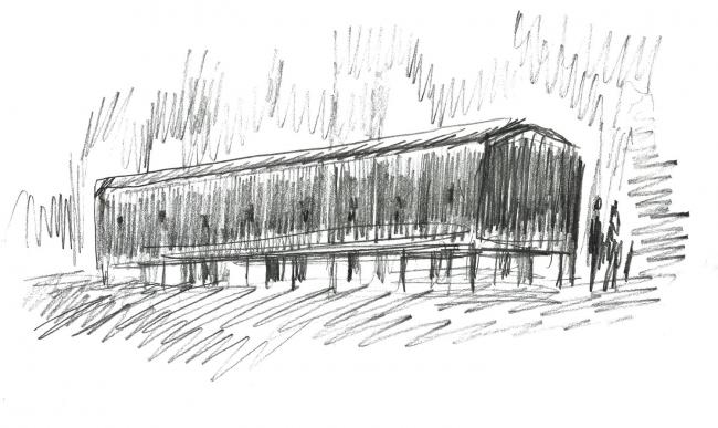 Павильон «101-й км – Далее везде». Эскиз Александра Бродского. Изображение предоставлено пресс-службой Пушкинского дома