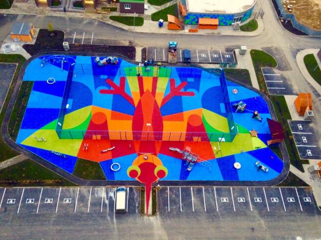 UP-квартал «Новое Тушино». (Московская область, городской округ Красногорск, деревня Путилково). Детская площадка. Фотография © ПланАР
