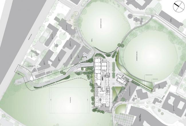 Центр Чарльза Перкинса – схема территории. Изображение ©fjmt