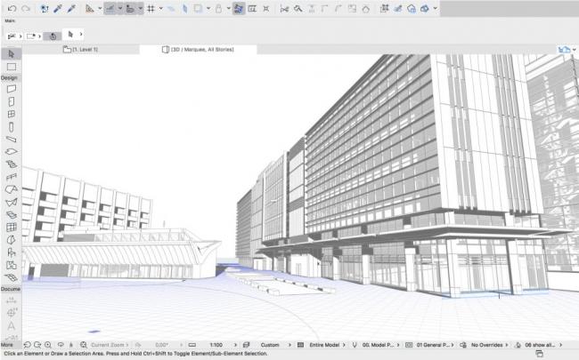 Модель Центра Чарльза Перкинса в ARCHICAD. Изображение ©fjmt
