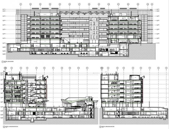 Разрезы Центра Чарльза Перкинса в ARCHICAD. Изображение ©fjmt
