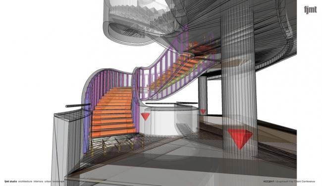 Модель конструкций/архитектуры одной из лестниц, созданная в Rhino/Grasshopper. Изображение ©fjmt