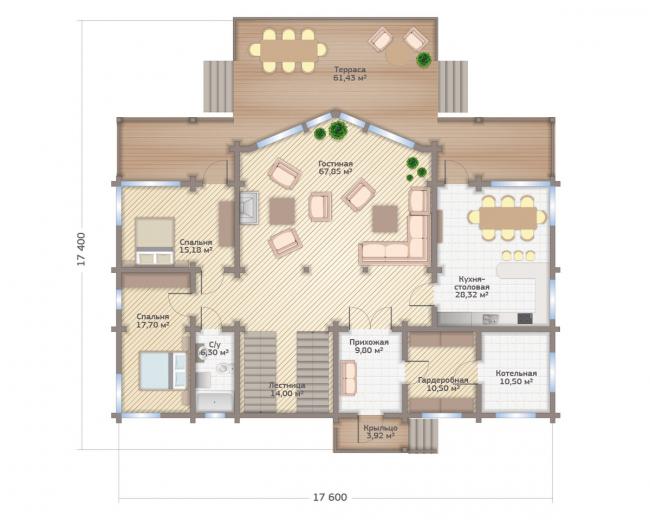 Дом в Завидове. Планировка 1 этажа. Изображение с сайта gwd.ru