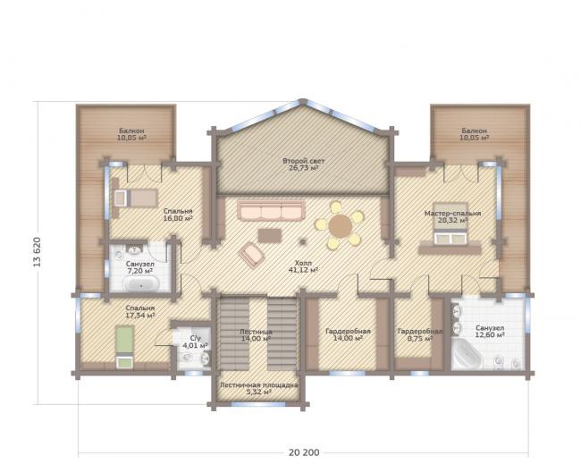 Дом в Завидове. Планировка 2 этажа. Изображение с сайта gwd.ru