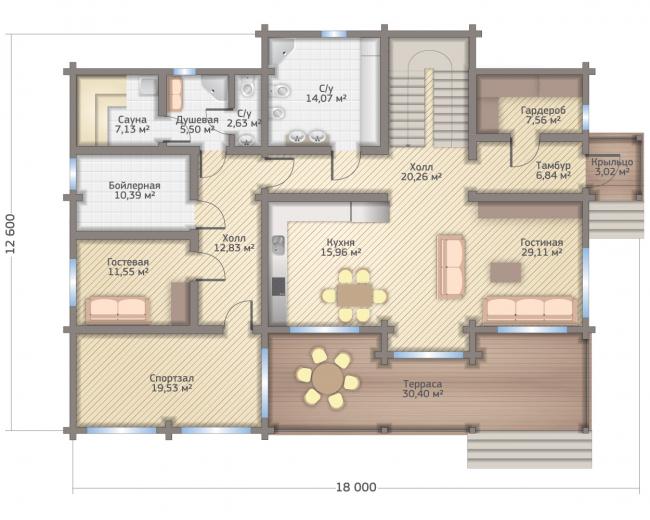 Дом в Мельникове. Планировка 1 этажа. Изображение с сайта gwd.ru