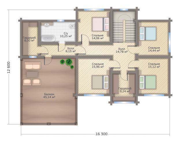 Дом в Мельникове. Планировка 2 этажа.  Изображение с сайта gwd.ru