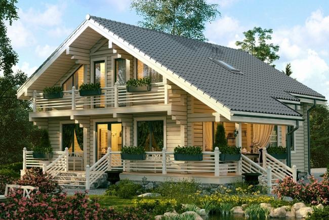 Проект дома из клееного бруса СП-250. Изображение с сайта gwd.ru