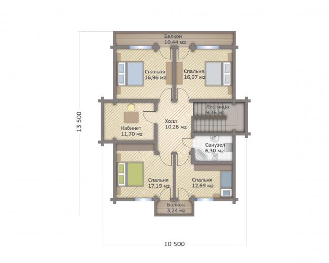Проект дома из клееного бруса СП-250. Планировка 2 этажа. Изображение с сайта gwd.ru