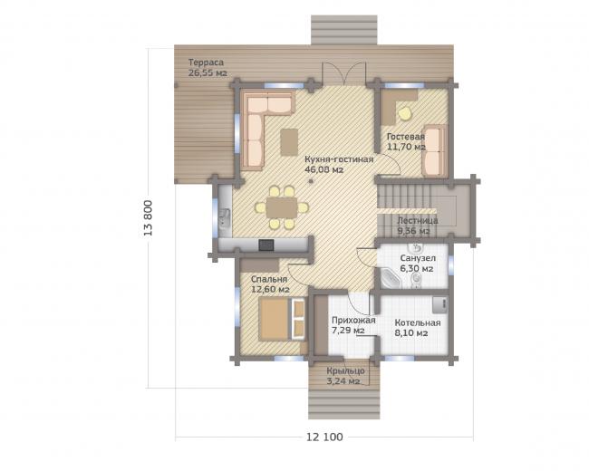 Проект дома из клееного бруса СП-250. Планировка 1 этажа. Изображение с сайта gwd.ru