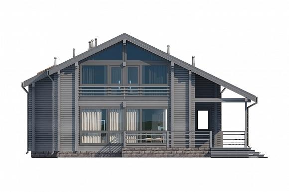 Проект дома из клееного бруса СП-265. Фасад. Изображение с сайта gwd.ru