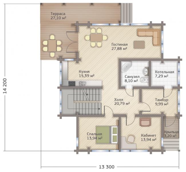 Проект дома из клееного бруса СП-265. Планировка 1 этажа. Изображение с сайта gwd.ru