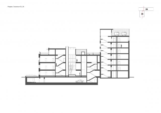 Комплекс апартаментов «Большевик». Разрез © IND Architects