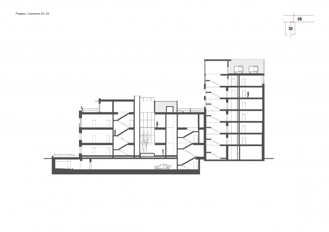 """""""Bolshevik"""" apartment housing complex. Section view © IND Architects"""