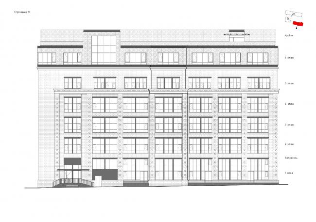 Комплекс апартаментов «Большевик». Фасады © IND Architects