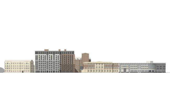 Development drawing along the Pionerskaya Street © Anatoly Stolyarchuk architects, 2017