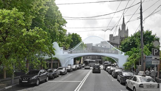 Проект пешеходного моста через Большую Грузинскую улицу © ПТАМ Виссарионова